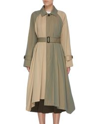 The Keiji Belted Pleated Colourblock Water-repellent Coat - Natural