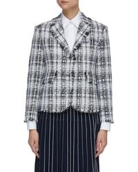 Thom Browne Unconstructed Oversized Fray Tweed Jacket - Gray