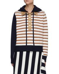 Monse Collaged Stripe Rugby Shirt Merino Wool Knit Hoodie - Multicolour