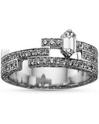 Dauphin 'disruptive' Pavé Diamond 18k White Gold Three Tier Ring - Metallic