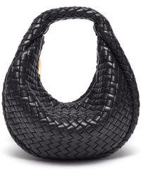 Bottega Veneta 'mini Hobo' Intreccio Padded Nappa Leather Bag - Black
