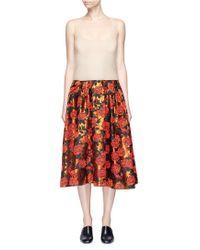 Ms Min - Mesh Camisole Panel Floral Jacquard Midi Dress - Lyst