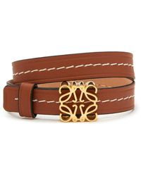 Loewe Anagram Plaque Double Strap Leather Bracelet - Brown