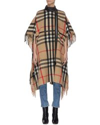 Burberry Leather Taping Check Cape - Multicolor