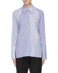 Dion Lee 'binary' Detachable Panel Tie Open Back Stripe Shirt - Blue