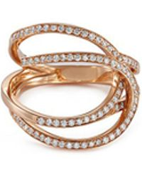 Repossi - 'la Ligne C' Diamond 18k Rose Gold Double Hoop Ring - Lyst