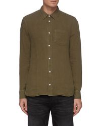 Denham 'harrison' Patch Pocket Linen Shirt - Brown