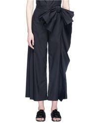 Xiao Li Bow Drape Poplin Culottes - Blue