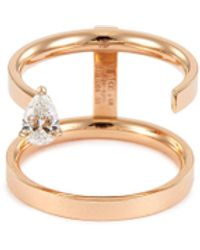 Repossi 'serti Sur Vide' Diamond 18k Rose Gold Two Row Ring - Metallic