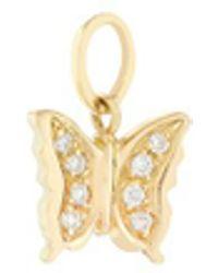 Loquet London - Diamond 18k Yellow Gold Butterfly Talisman Charm - Lyst