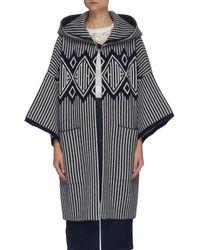 Chloé Logo Pattern Stripe Wool Cashmere Blend Hood Coat - Multicolour