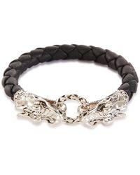 John Hardy - 'legends Naga' Silver Leather Bracelet - Lyst