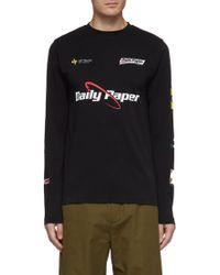 Daily Paper 'feff' Logo Print Long Sleeve T-shirt - Black