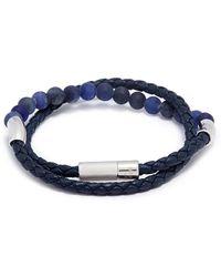 Tateossian - 'havana' Double Wrap Sodalite Leather Bracelet - Lyst