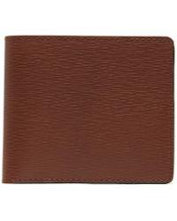 Jean Rousseau 'hipster' Embossed Calfskin Leather Bi Fold Wallet - Brown