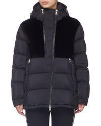 Moncler - 'blongios' Velvet Panel Hooded Down Puffer Jacket - Lyst