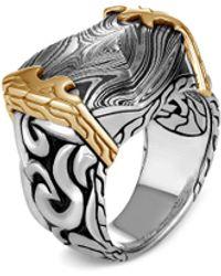 John Hardy 'classic Chain' 18k Gold Silver Damascus Steel Ring - Metallic