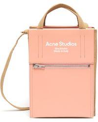 Acne Studios Contrast Panel Logo Print Small Tote - Multicolor