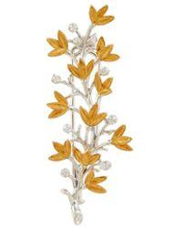 Buccellati - Diamond 18k Gold Leaf Brooch - Lyst