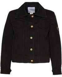Patou Logo Embroidered Sleeve Denim Jacket - Black