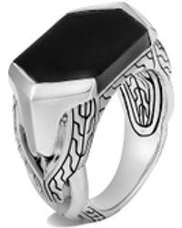 John Hardy 'asli Classic Chain' Onyx Sterling Silver Signet Ring - Metallic