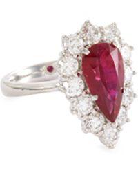 LC COLLECTION Diamond Ruby 18k White Gold Teardrop Ring - Metallic