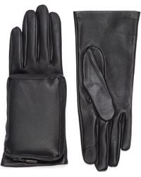 Aristide Zip Pouch Leather Gloves - Black