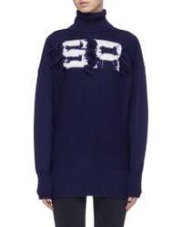 Sonia Rykiel - Fringed Logo Intarsia Merino Wool Turtleneck Sweater - Lyst