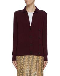 Victoria, Victoria Beckham Asymmetric Button Detail Merino Wool Cardigan - Red