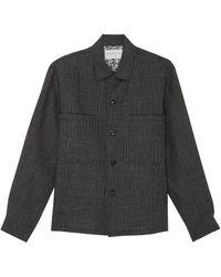 Tomorrowland 'shetland Officer' Chest Pocket Shirt Jacket - Gray