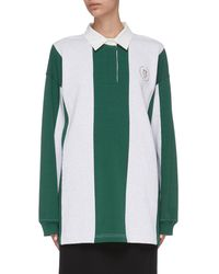 Alexander Wang Rugby Stripe Oversized Polo Shirt - Green