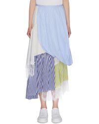 Enfold Lace Trim Tiered Asymmetric Patchwork Skirt - Blue