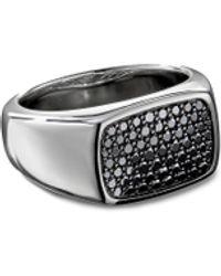 David Yurman Diamond Pavé Silver Signet Ring - Metallic