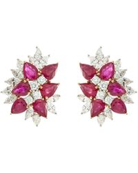 LC COLLECTION Diamond Ruby 18k White Gold Cluster Earrings - Multicolour