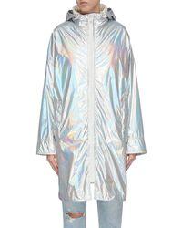 Army by Yves Salomon 'bachette' Metallic Zip Windbreaker Coat