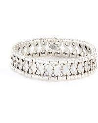 Philippe Audibert Lys Etain' Swarovski Rhinestone Embroidered Bracelet - Metallic