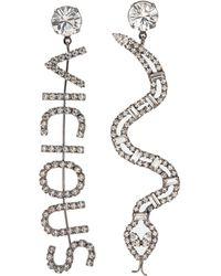 Joomi Lim 'vicious Cobra' Mismatched Swarovski Crystal Slogan Earrings