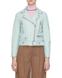 945b9a17f Acne Studios Leather Light Blue Lambskin Moto Jacket By - Lyst