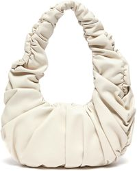 Nanushka 'anja' Ruched Vegan Leather Circular Handle Bag - White