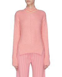 Maggie Marilyn 'a Stitch In Time' Contrast Stitch Stripe Collar Sweater - Pink