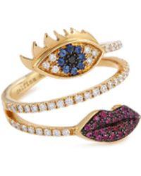 Delfina Delettrez - 'marry Me Eyes And Lips' Diamond Ruby Sapphire 18k Yellow Gold Ring - Lyst