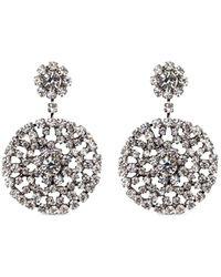 Kenneth Jay Lane - Glass Crystal Floral Drop Clip Earrings - Lyst