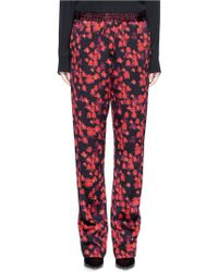 Givenchy Floral Print Silk Satin Pyjama Trousers - Red