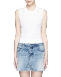 Mo&co. Cotton-silk Crop Top - White