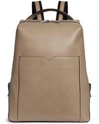 Valextra 'v-line' Leather Backpack - Gray