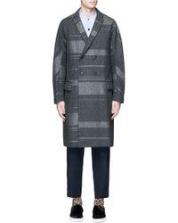 Kolor Notch-lapel Wool-blend Overcoat - Gray