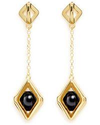 W. Britt - 'square Cage' Sphere Drop 18k Gold Earrings - Lyst