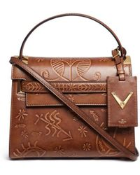 Valentino 'my Rockstud Santeria' Small Embossed Leather Bag - Brown