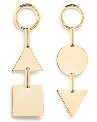 Eddie Borgo 'mismatched Token' 12k Gold Plated Earrings - Metallic