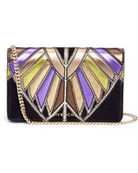 Givenchy Pandora' Egyptian Wing Patchwork Leather Chain Wallet - Black